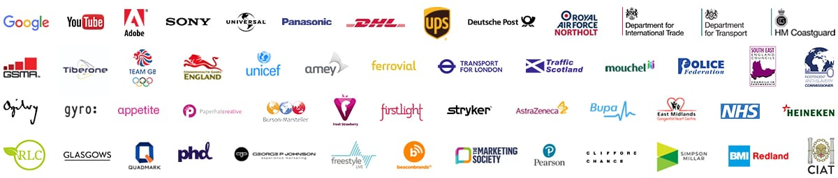 A large grid of prestigious clients our video production company has worked for