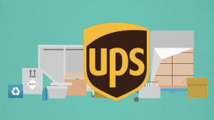 UPS logo built in front of a 2D animation