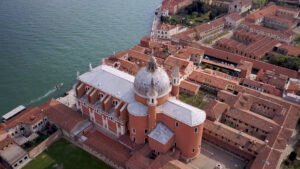 Aerial filming above a cathedral in Venice