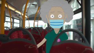 A 2D character animation wearing a facemask sits within real footage on top of a London bus